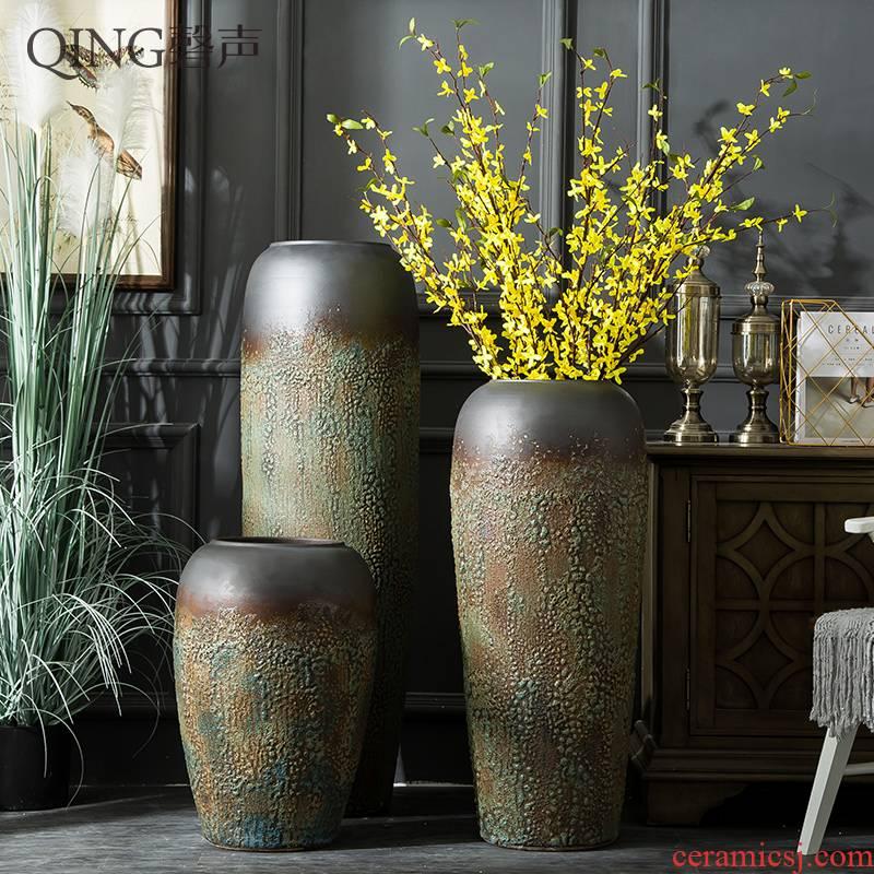 Jingdezhen ceramic floor large vase furnishing articles sitting room TV ark, flower arranging dried flower porcelain Chinese style restoring ancient ways POTS