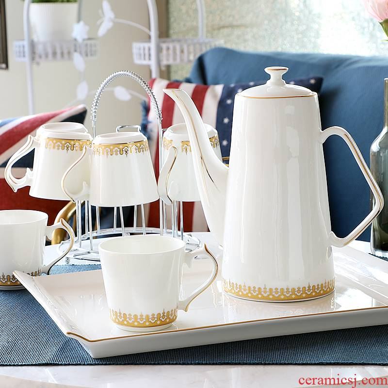 Cup of tea set suit household glass Cup tray was sitting room water with European Cup heat - resisting teapot kettle gift box