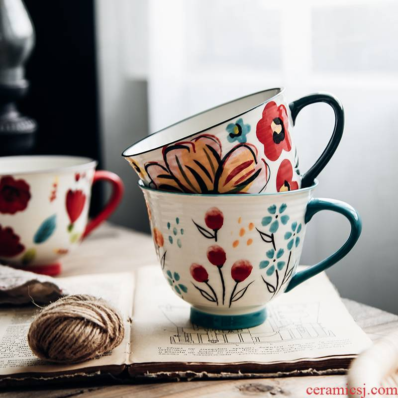 Hand color small flowers fresh Nordic ins ceramic high - capacity breakfast milk tea cup lovers mugs