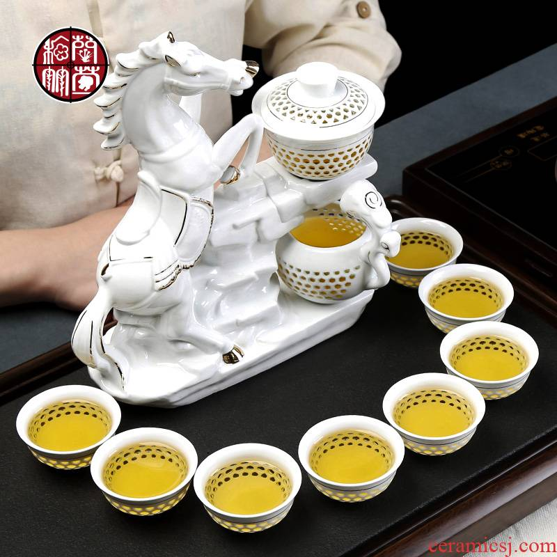 Automatic kung fu tea tea horse suit lazy household office white porcelain honeycomb and exquisite hollow out success