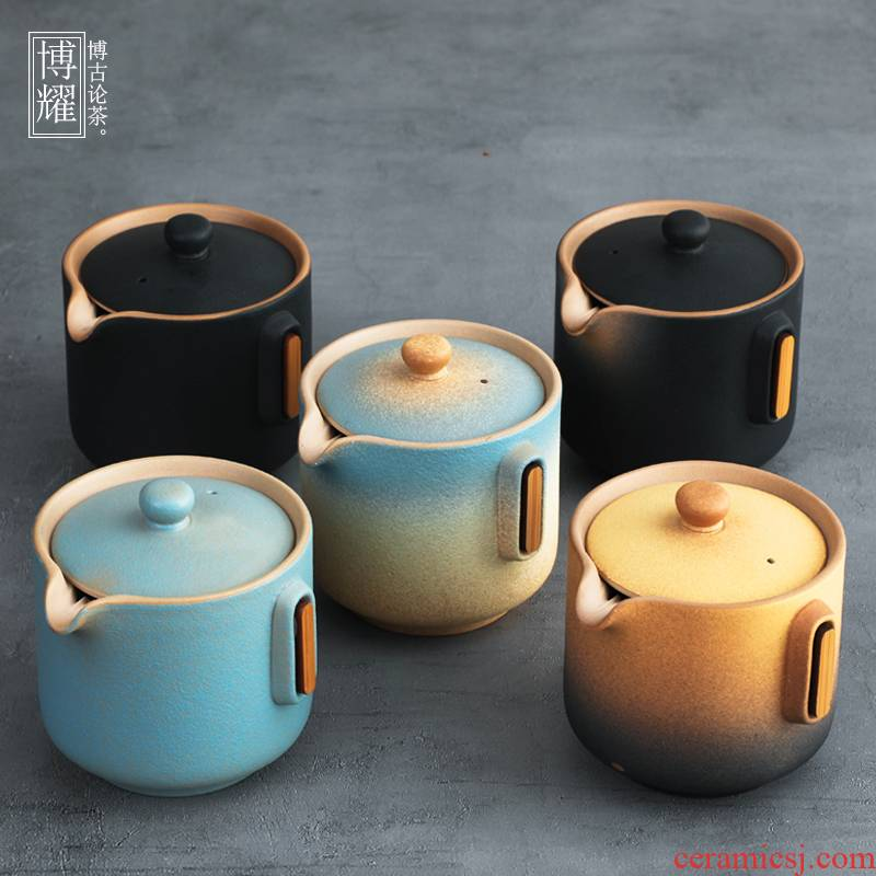 Bo yiu-chee Japanese coarse pottery hand grasp pot teapot ceramic household large - sized iron single teapot kung fu tea tea; preventer