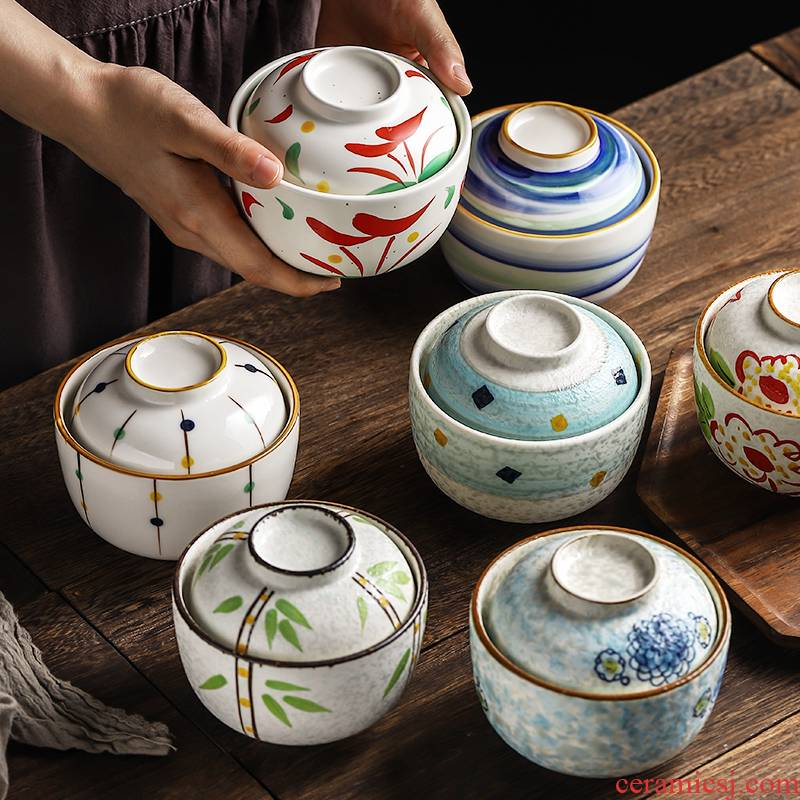 Japanese - style tableware with cover small stew soup bowl ceramic cup home soup bowl steaming bowl of steamed egg cup porringer tureen