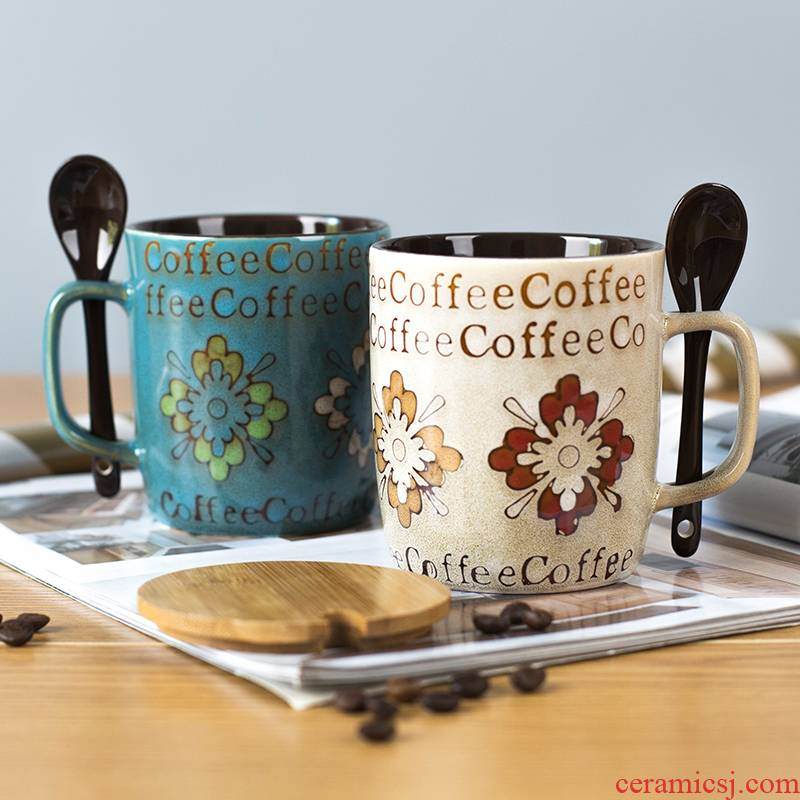 Creative ceramic cup with cover run water mark cup trend of men and women lovers household move milk coffee cups