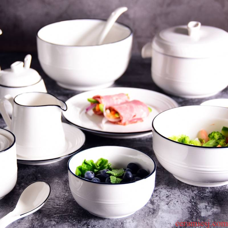 Add some joy blue edge ceramic bowl dish plates stew rice bowls salad bowl of beef noodles in soup bowl of western teapot home plate