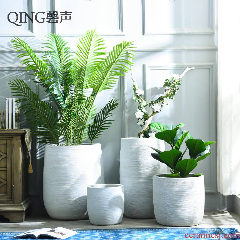Nordic I and contracted large diameter white ceramic flower pot hotel garden green plant big sitting room ground flower arrangement vase