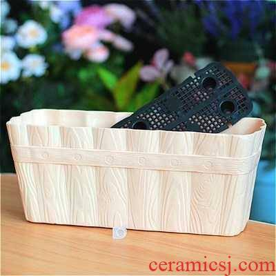 Small balcony window plant vegetables and flowers narrow rectangular plastic ceramic flower pot flowers trough 12 cm wide