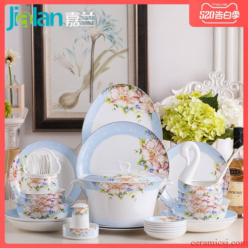 Garland 56 head ipads porcelain tableware suit northern rural western tableware ceramic dish dish 10 people combination of gifts
