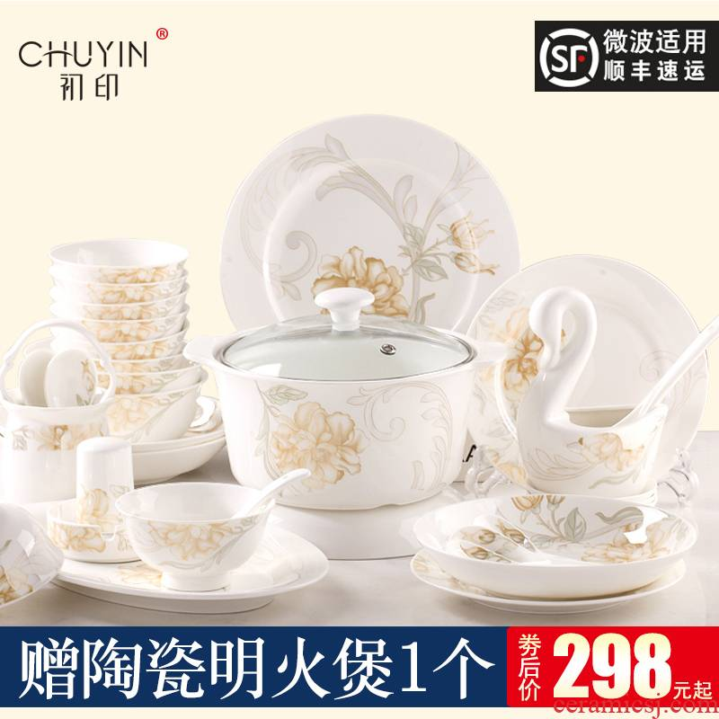 Dishes suit household ipads China Europe type simple Chinese chopsticks at jingdezhen ceramic tableware suit combination Dishes