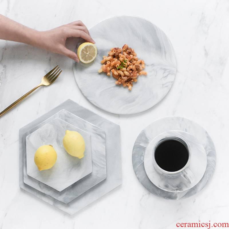 The Nordic contracted ceramic marble tablet sushi plate to receive a plate of pasta tray mat western - style food plate