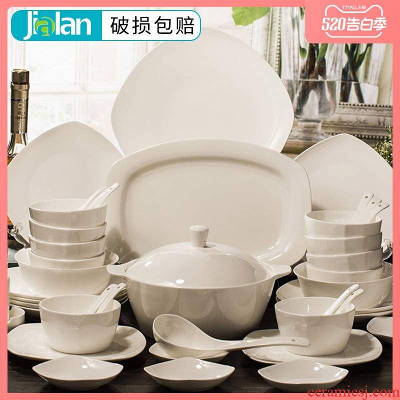 Garland 56 skull white porcelain tableware suit bowl dish dish plate microwave oven for contracted household ceramics