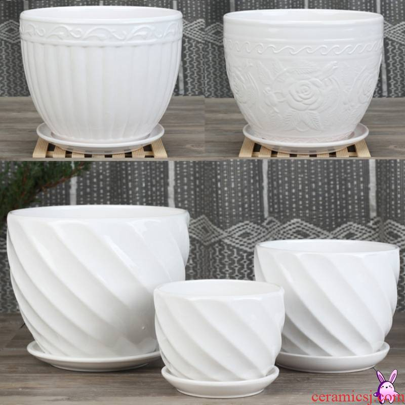 Buy xi white ceramic flower pot super - large clearance creative indoor rand other household contracted move with tray