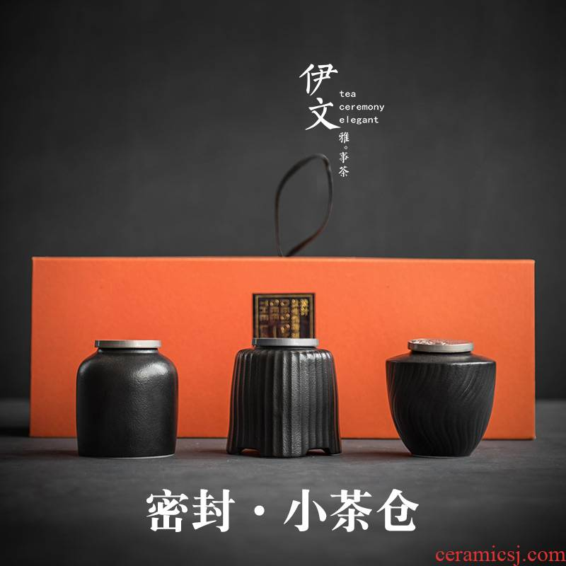 Evan ceramic portable caddy fixings household retro kung fu tea set mini ceramic seal pot tea storage tanks