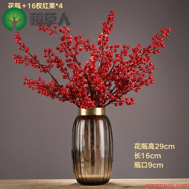 Simulation flower crabapple rich fruit acacia red beans dry flower, glass vases, flower arranging flowers, ceramic decoration floor decoration