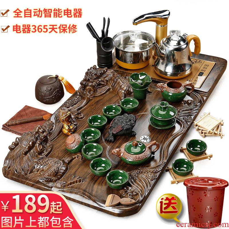 YunSen violet arenaceous kung fu tea set suit household contracted tea cup teapot tea tea sets of fully automatic solid wood tea tray