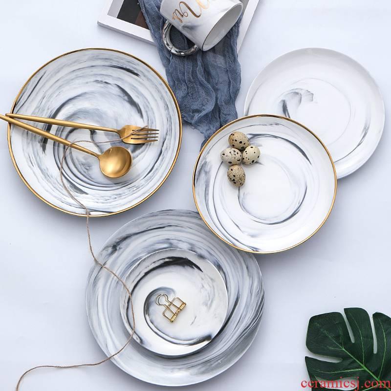 Scene for western food steak Nordic ceramic plate up phnom penh marble plate disc ins web celebrity dessert plate