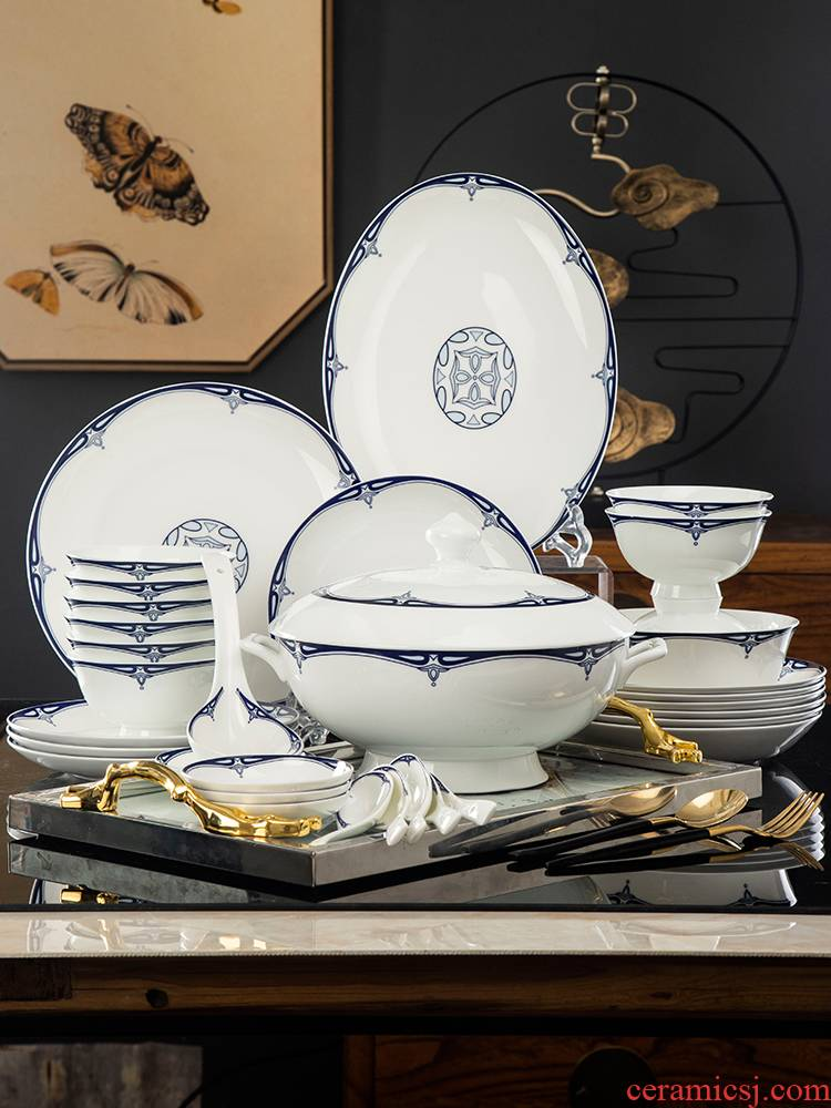 , Chinese dishes suit domestic high - grade jingdezhen blue and white porcelain is I and contracted glair cutlery set