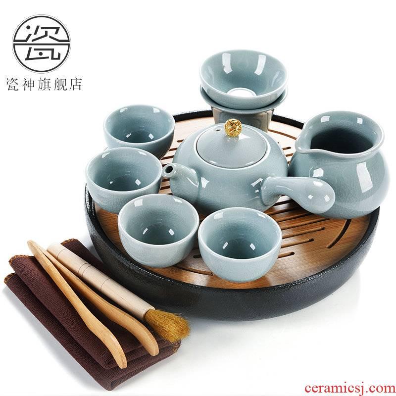 Porcelain ceramic dry tea god home kung fu tea set water bamboo sea small circular saucer dish of tea tea tray