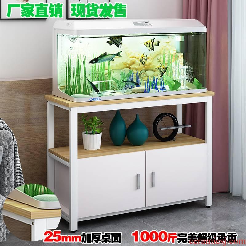 Di - simple sitting room small grass cylinder aquarium fish tank base bottom ark of stainless steel, multi - layer tank rack shelf