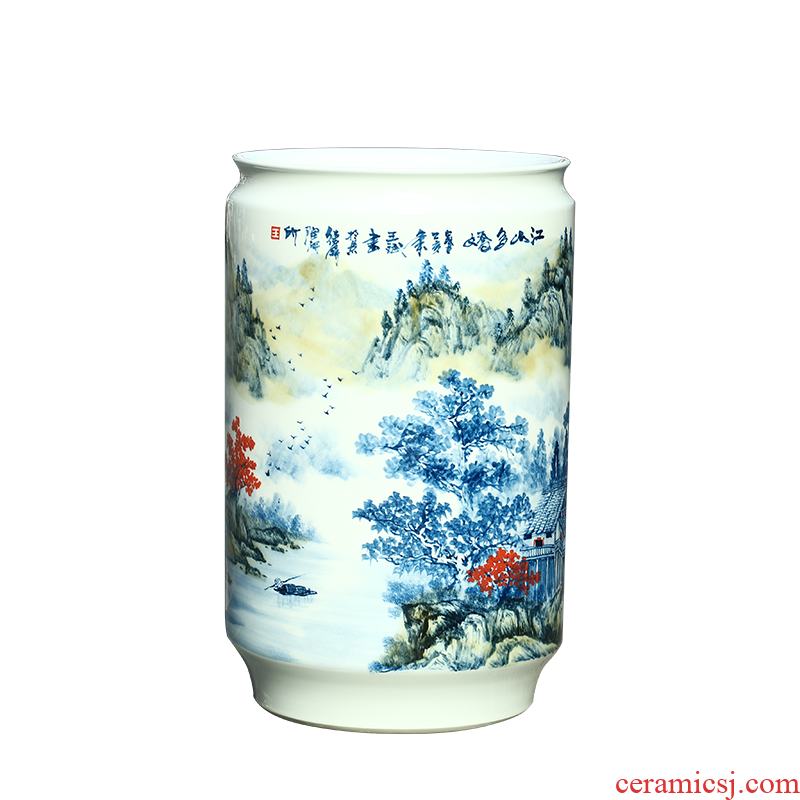 Jingdezhen ceramic hand - made scenery quiver painting and calligraphy scrolls cylinder sitting room ground vase study furnishing articles ornaments
