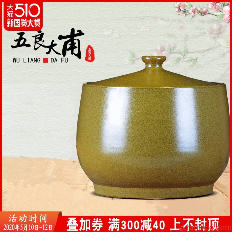 Jingdezhen ceramics barrel ricer box it tank with cover the jar tea at the end of the 15 kg 30 jins storage tank