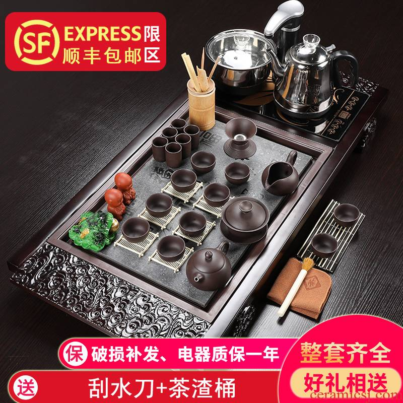Porcelain heng tong tea set purple sand pottery and Porcelain of a complete set of kung fu tea tea tea tray automatically sheung shui home contracted