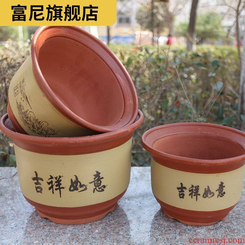 Rich, flowerpot clearance package mail oversized coarse pottery clay POTS purple large ceramic special red clay with pallets