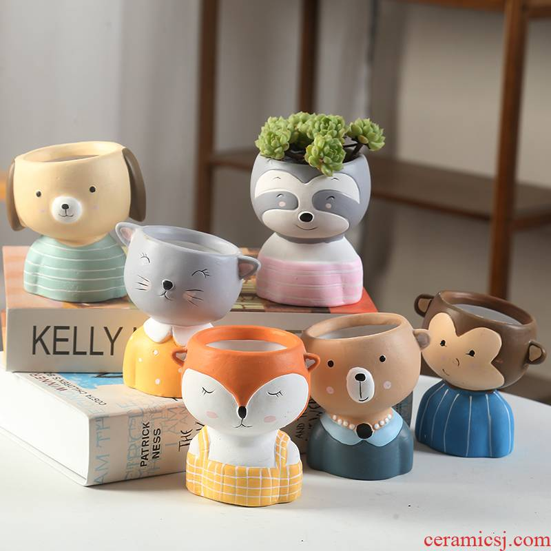 End of ceramic flower POTS of express it in the cartoon, fleshy here meat meat breathable specials Korean coloured drawing or pattern individual character basin