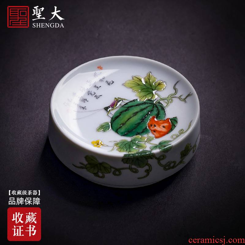 Holy big ceramic cover buy hand colored enamel watermelon des sauterelles cover all hand jingdezhen kung fu tea accessories