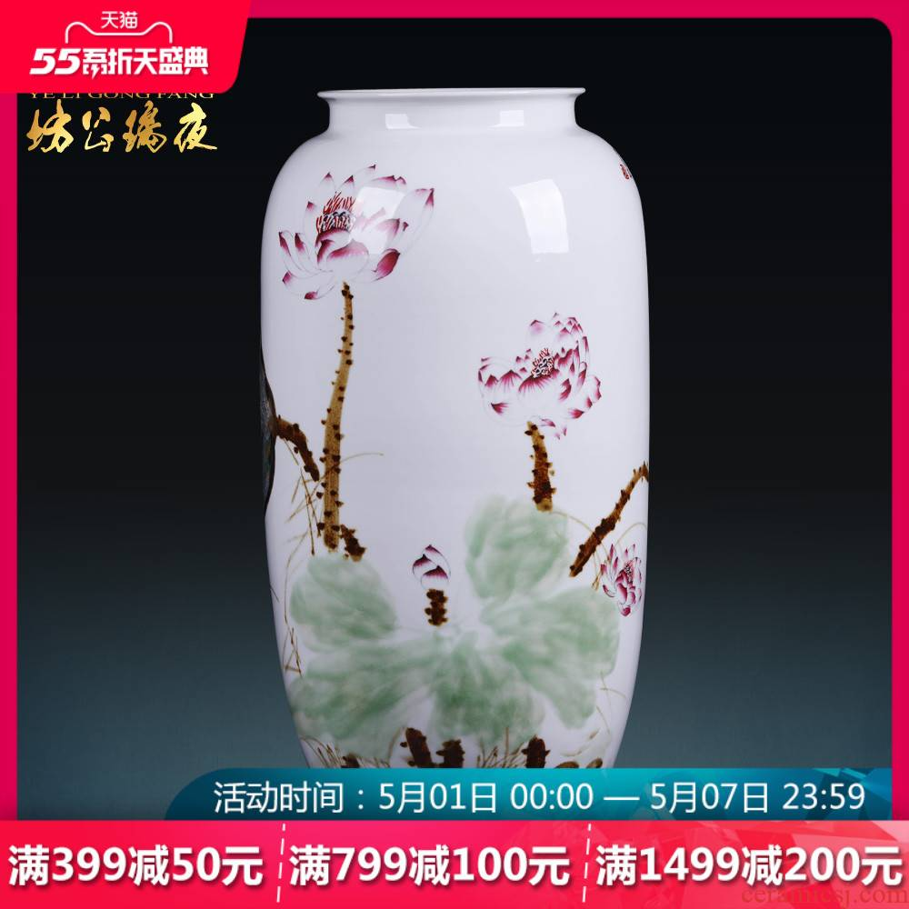 Jingdezhen ceramics, vases, flower arranging furnishing articles hand - made of lotus painting cylinder quiver Chinese style household handicraft ornament