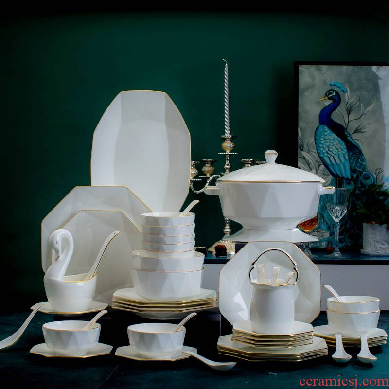Jingdezhen ceramic dishes combine household suit Nordic character porcelain tableware suit contracted up phnom penh dishes chopsticks