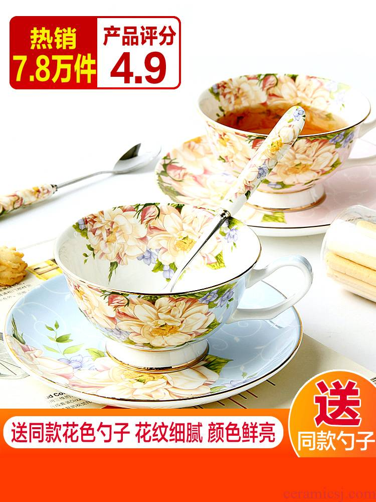 European style coffee cups and saucers suit small ipads China key-2 luxury afternoon tea tea set ceramic cup. English small household delicate flower