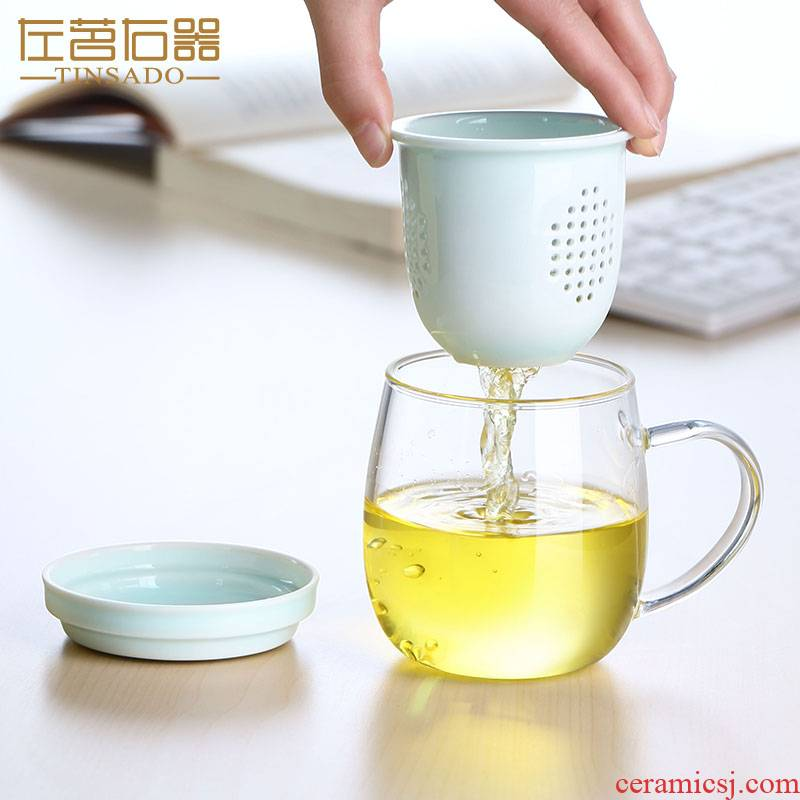 ZuoMing right implement separation of tea tea glass tank filter office high - temperature water glass cups
