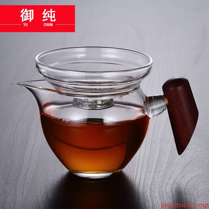 Royal fair pure glass cup and cup) suit thickening heat large tea sea points, kung fu tea accessories