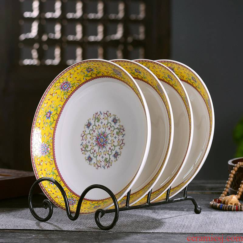 Large deep dish Chinese style household ipads porcelain of jingdezhen ceramics small taste dish 0 tableware the deep shallow dish dish dish dish slag