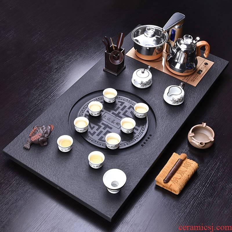 HaoFeng purple sand tea set home four unity sharply stone solid wood tea tray automatically kung fu tea tea tea