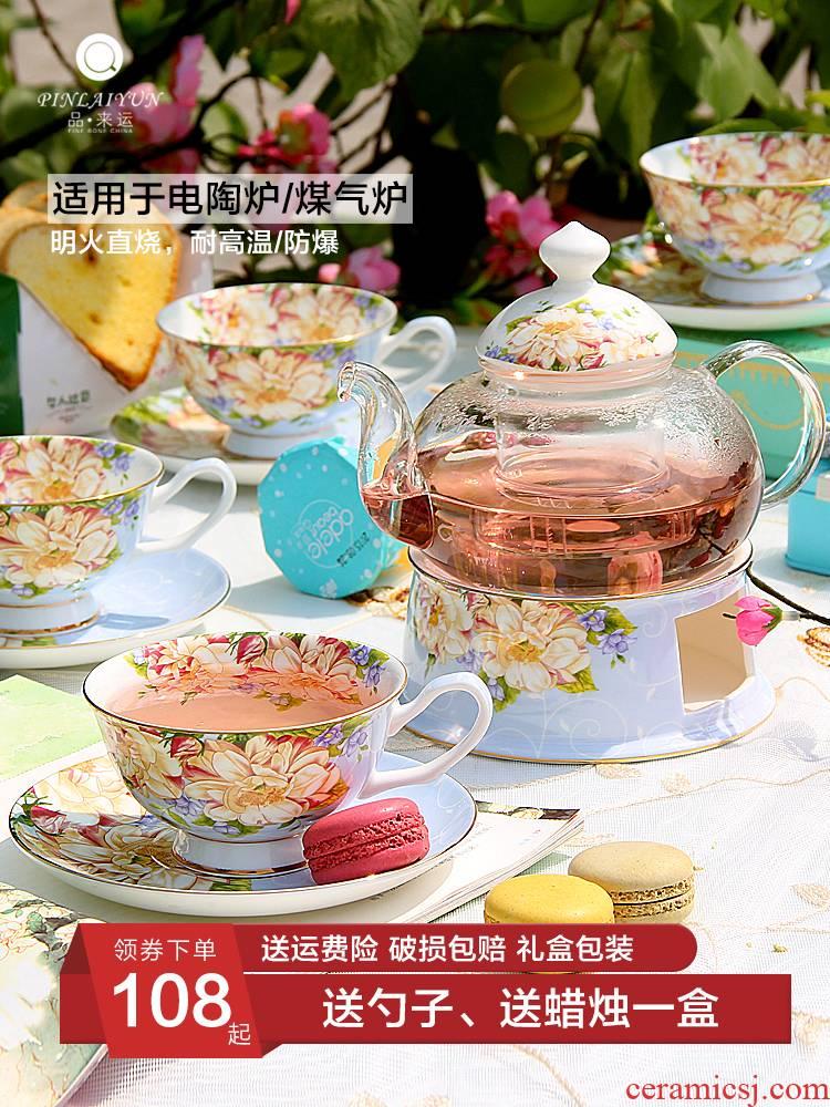 Ceramic tea cups fruit tea set tea service suit English pot of tea set heating household candles