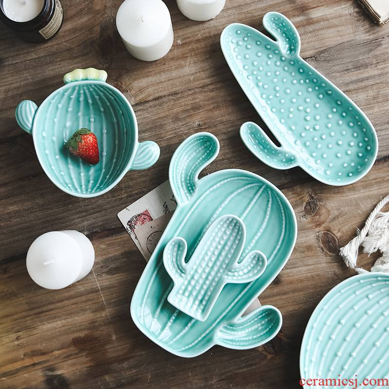 Cactus creative snacks disc ins plate northern wind move breakfast tray was dessert plate ceramic fruit bowl