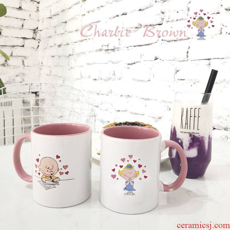 Own custom ugly girl students heart of snoopy Charlie ceramic cup express couples mark water cup for cup