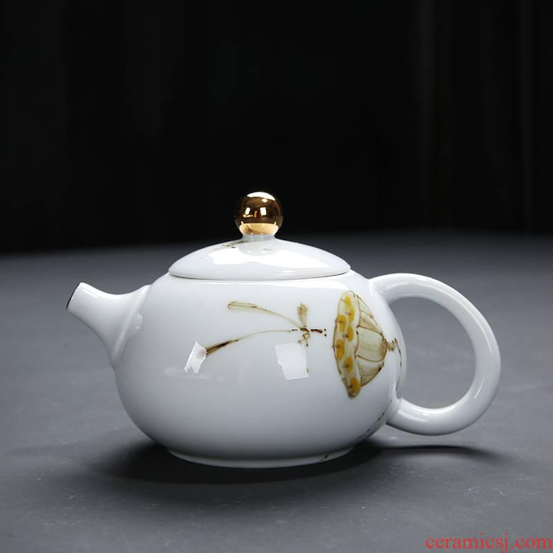 Hand - made ceramic teapot household kung fu tea set filter tea kettle landscape painting craft teapot xi shi pot