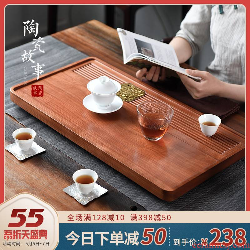 The Story of pottery and porcelain tea tray was solid wood home hua limu the whole piece of wood dry tea tea sea kung fu tea set