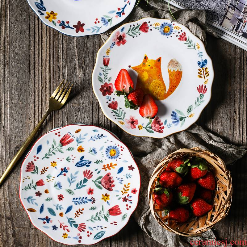 Japanese express animals ceramic tableware suit for job baby cartoon plate household creative dishes for breakfast