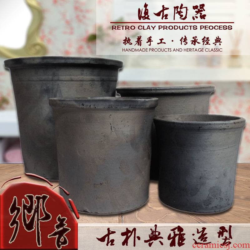 Thick black pottery clay permeability clivia camellia trees flower POTS potted bonsai creative clay made of baked clay by hand full package of mail