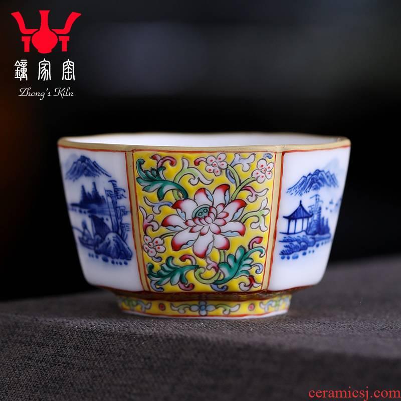 Clock home teacups hand - made porcelain up kung fu landscape colored enamel lotus flower grain six table mountain water cup of jingdezhen tea service