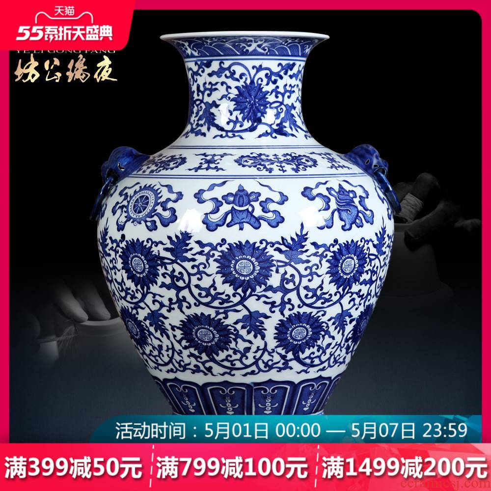 Jingdezhen ceramics furnishing articles antique blue and white porcelain vase auspicious sweet figure sitting room of Chinese style household crafts