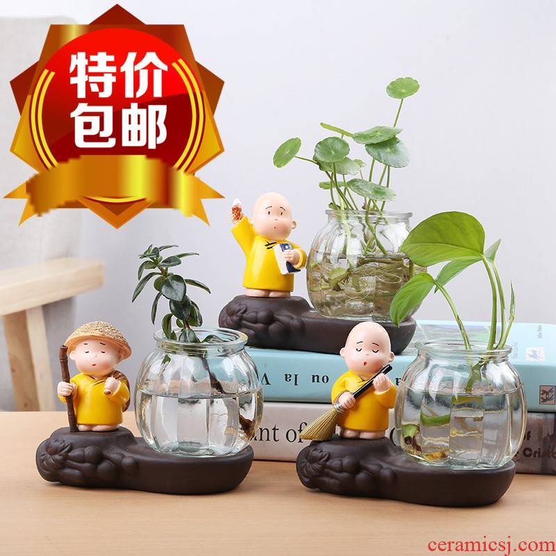 Hydroponic vases, glass transparent creative young monk furnishing articles other flower arranging flower pot home decoration ceramic containers