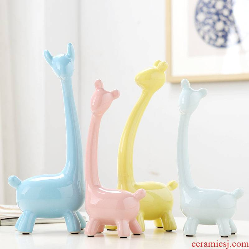 Ceramic handicraft animals. A giraffe a family home decoration desktop place adorn wine porch four furnishing articles