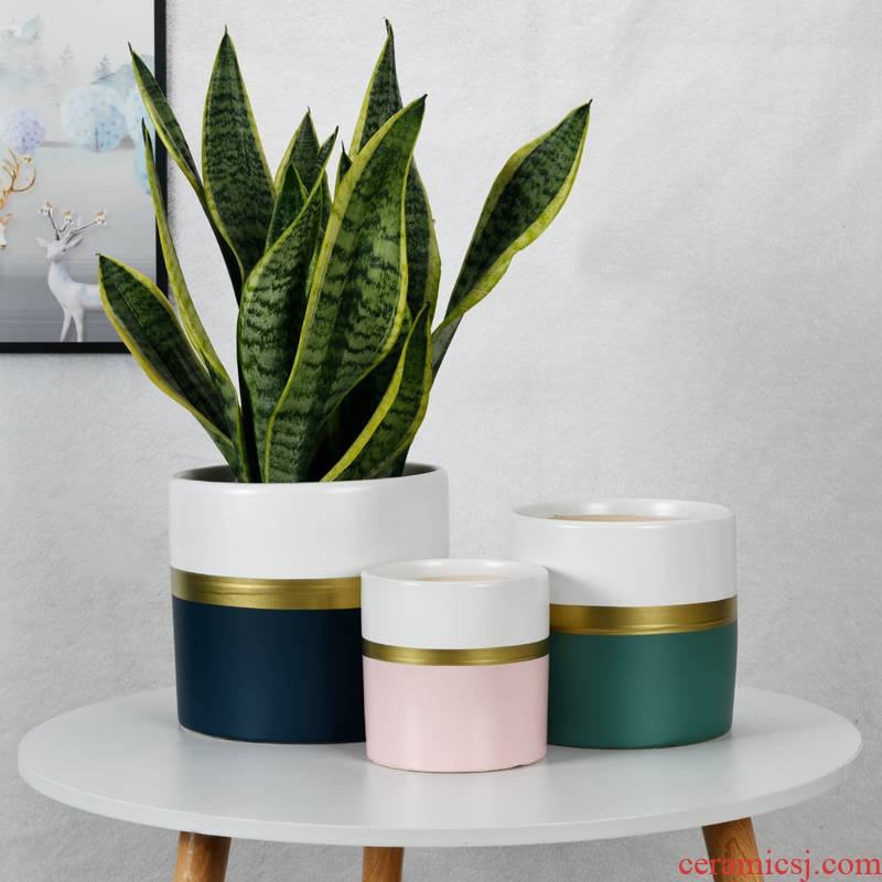 Cylindrical ceramic flower pot extra large wholesale Nordic indoor bracketplant, breathable flowerpot more than other meat clearance package mail