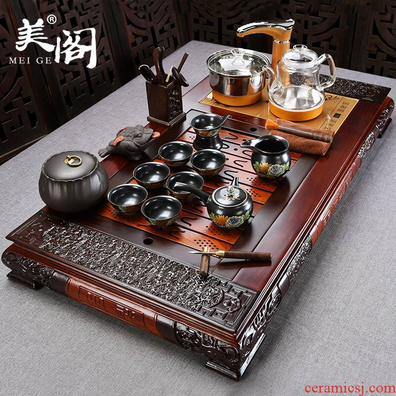 Beauty cabinet ebony tea tray automatic ceramic tea set household glass kung fu tea kettle solid wood tea table