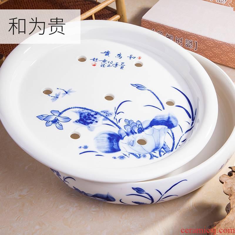 Circular tea tray, ceramic household tray was jingdezhen blue and white porcelain kung fu tea water tea tea saucer