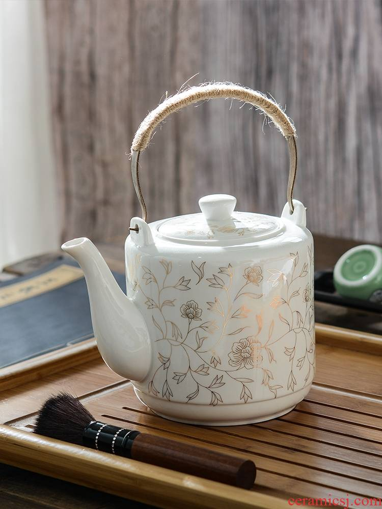 Ceramic teapot single pot of household cool cold KaiShuiHu high - capacity kettle CiHu big pot of porcelain teapot big kettle